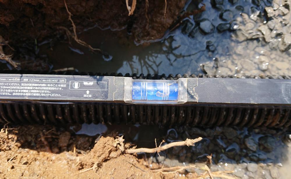 ダブル管の水勾配