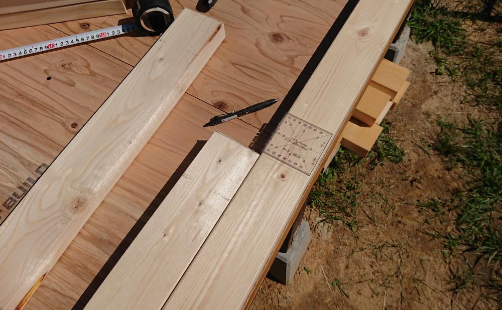 基準の木材と長さを揃える